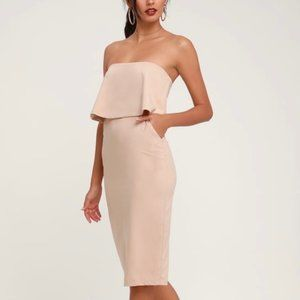 Lulus Lots of Love Beige Strapless Midi Dress